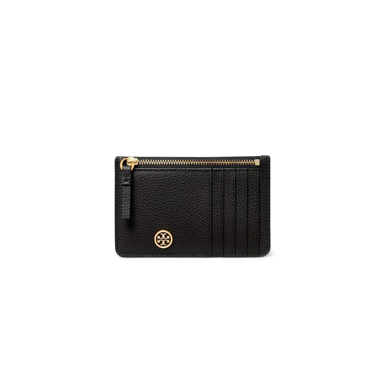 TORY BURCH Πορτοφόλια γυναικεία Tory Burch Μαύρο WALKER TOP-ZIP CARD CASE