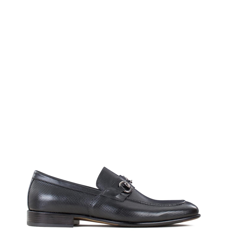 Μοκασίνια ανδρικά Raymont Genuine Leather Μαύρο