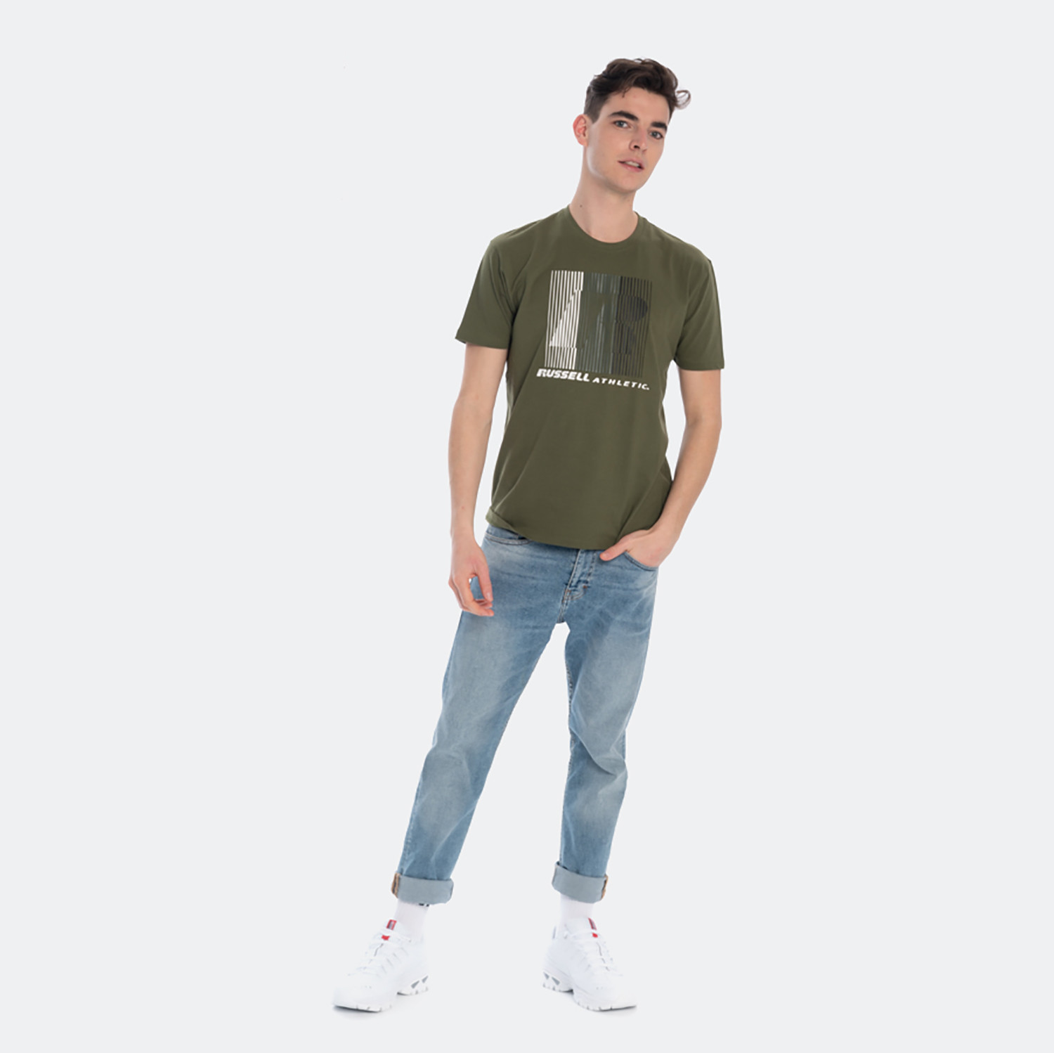 Russell Athletic Russell Athletic Striped Crewneck Men's T-Shirt (9000051647_26955)