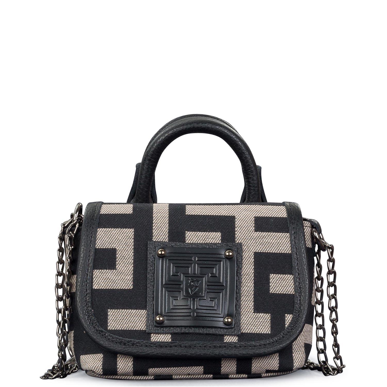 Mini Bags γυναικεία Ames Bags Μπεζ-Μαύρο Genos Mini