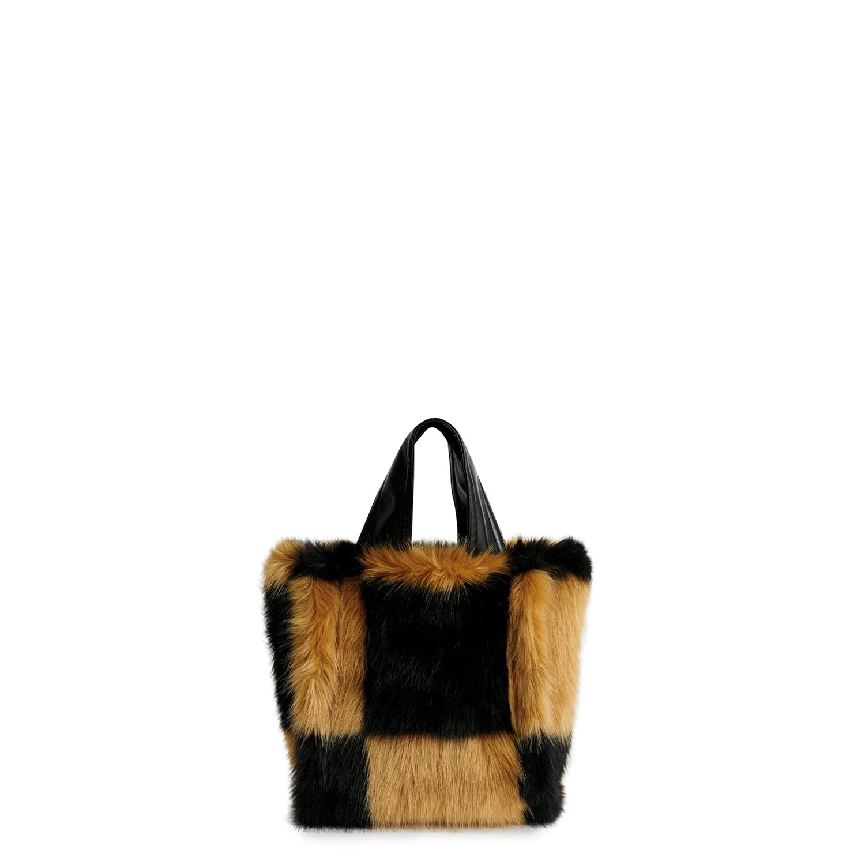 Shopping γυναικεία Stand Studio Μπεζ/Μαύρο Lucille Faux Fur Bag